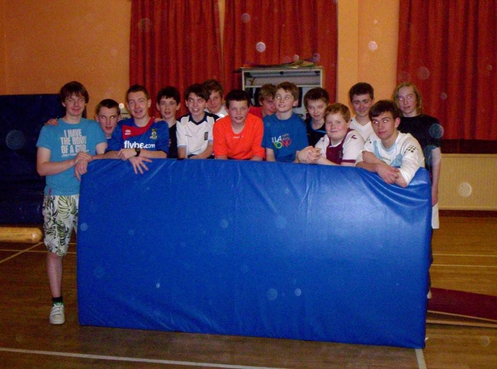 Photo of boys with new crash mat